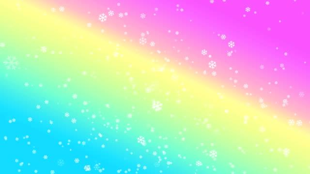 4k snowflake abstract loop wallpaper in rainbow background - depth marker stock videos & royalty-free footage