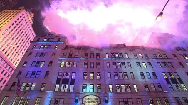 atmosphere snowflake and windows at 2014 bergdorf goodman holiday window unveiling unicef snowflake lighting at bergdorf goodman on november 17 2014... - bergdorf goodman stock videos and b-roll footage
