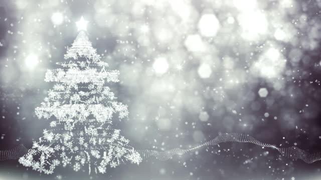 snowflake christmas tree (silver) - loop - silver coloured stock videos & royalty-free footage