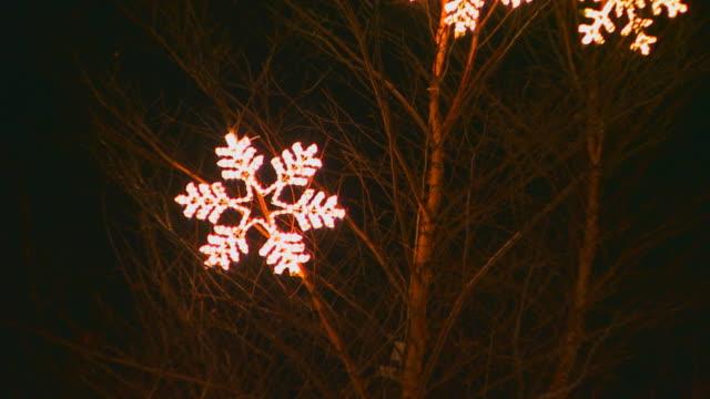 snowflake lights in tree, zoom out - クリスマスの飾り点の映像素材/bロール