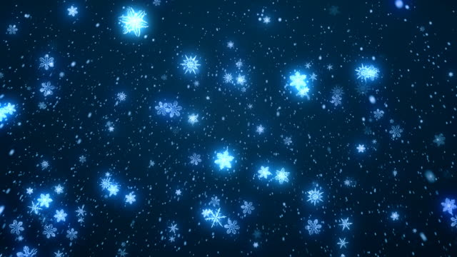 CGI, Snowflakes falling against blue background