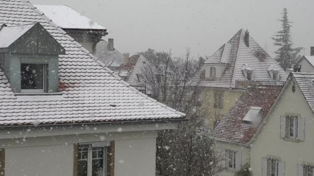 vidéos et rushes de snowflakes falling down to the roofs, slow motion view - strasbourg