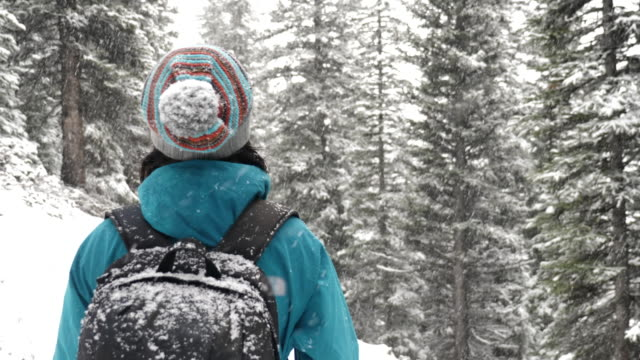 snowflakes falling on hiking woman's hands - deep snow stock videos & royalty-free footage
