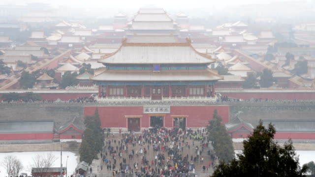 snowflakes flying the forbidden city, beijing, china - emperor stock videos and b-roll footage