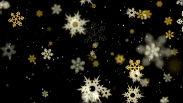 stockvideo's en b-roll-footage met snowflakes on black loop - stervorm