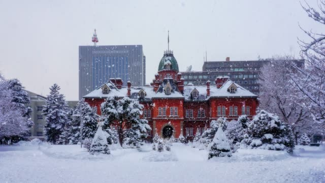 snowing at the former hokkaido government office in sapporo, hokkaido, japan. - hokkaido stock videos & royalty-free footage