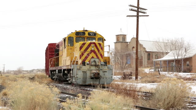 ms snowing at train station / lamy, new mexico, united states - lamy new mexico stock videos & royalty-free footage