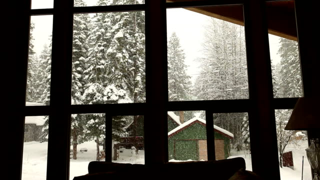 snowing behind the window - window frame stock videos and b-roll footage