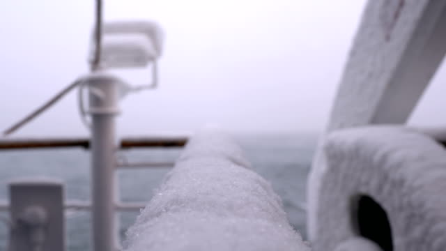 snowing in ship - nave a vela video stock e b–roll