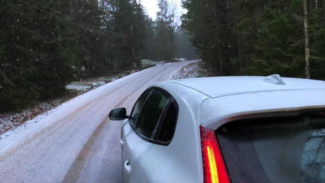 Snowing in slow motion in the Sweden countryside during road trip.