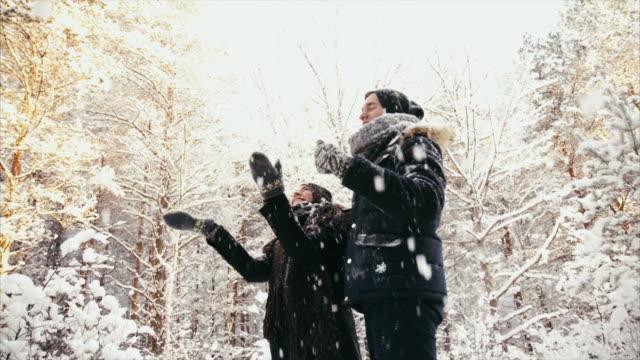 schneien im wald - wohlbefinden stock-videos und b-roll-filmmaterial