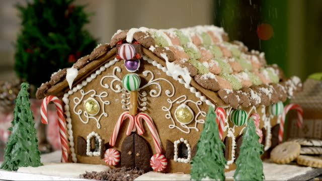 Snowing on a Gingerbread House
