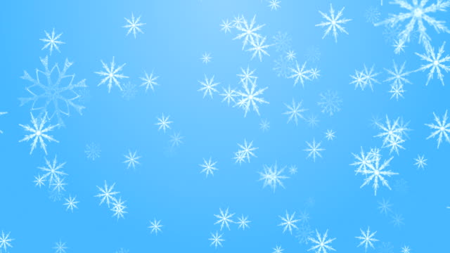 snowing on blue background - snowflake stock videos & royalty-free footage