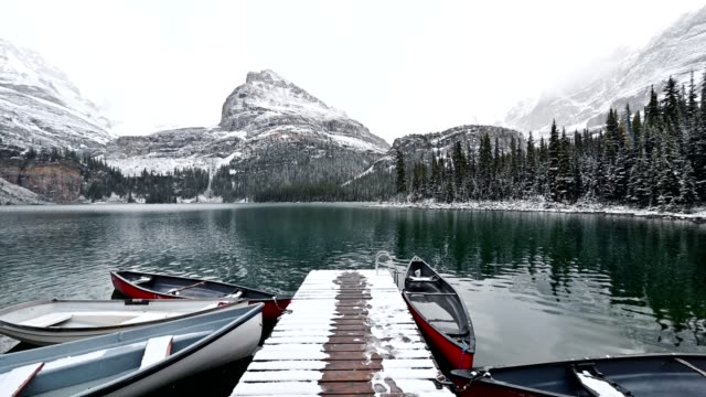 snowing on rocky mountains with canoe on wooden pier in lake o'hara at yoho national park - pier stock videos & royalty-free footage