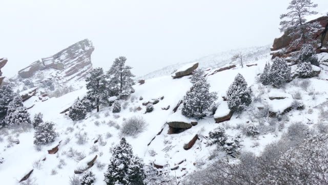 Snowing Red Rocks Park and Amphitheater Morrison Colorado winter tunnel