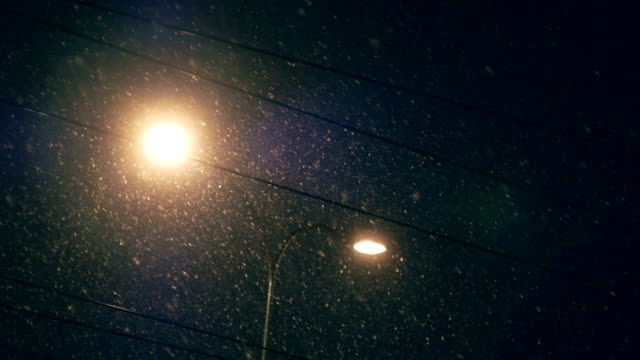 snowing, sky, night, lights - electrical component stock videos & royalty-free footage
