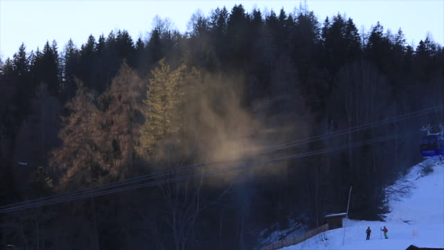 Snow-making machines a snow covered mountain resort.