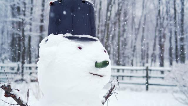 vidéos et rushes de bonhomme de neige à l'arrière-cour sous les chutes de neige dans la journée d'hiver - clôture jardin