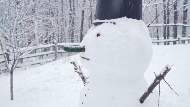 snögubbe på bakgården under snöfallet i vinterns dag - poconobergen bildbanksvideor och videomaterial från bakom kulisserna