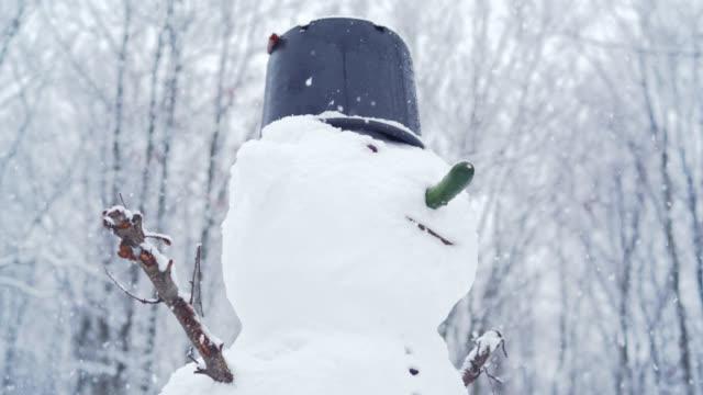 schneemann im garten unter der schneefall in den wintertag - schneemann stock-videos und b-roll-filmmaterial
