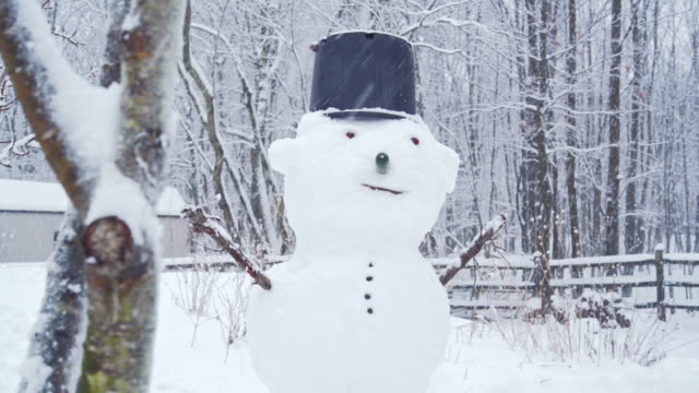 snowman at the backyard under the snowfall in the winter's day - snowman stock videos & royalty-free footage
