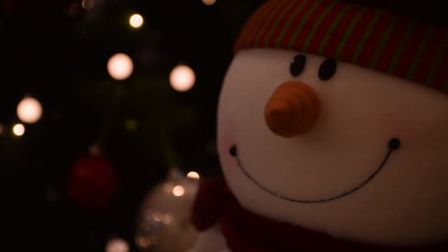 snowman decoration and sparkling lights - snowman stock videos & royalty-free footage