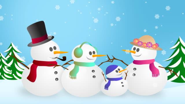 vídeos de stock, filmes e b-roll de boneco de neve família - neckwear