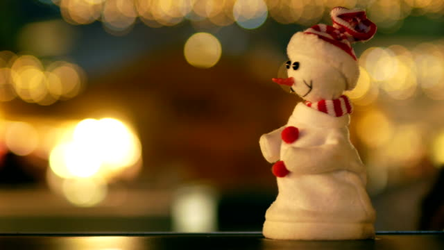 Snowman in the City, Christmas, Night, Christmas lights