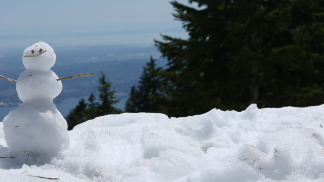 snowman on grouse mountain - vancouver canada stock videos & royalty-free footage