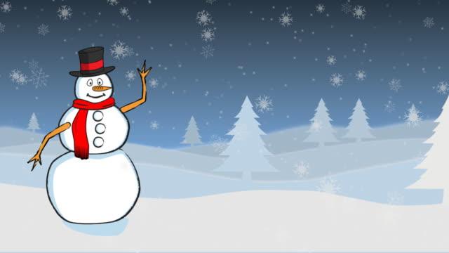 schneemann winkt ein wunschzettel für weihnachten - schneemann stock-videos und b-roll-filmmaterial