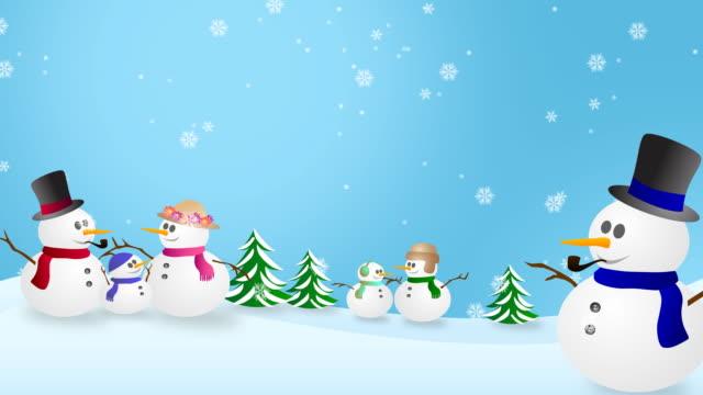 vídeos de stock, filmes e b-roll de snowmen no país das maravilhas do inverno - imagem em movimento circular