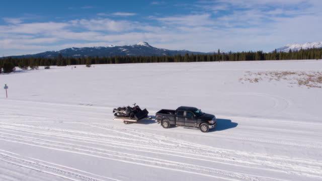snowmobile on truck trailer - idaho stock videos & royalty-free footage