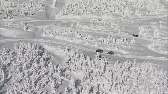 Snowmobiles tour through the Zao Mountain Range. Aerial Shot
