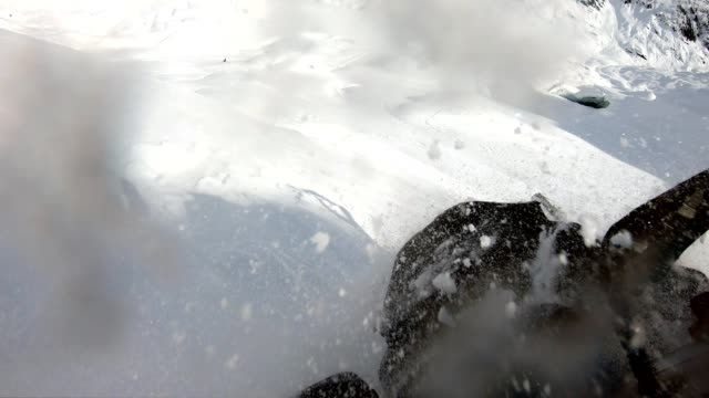 snowmobiling fresh powder in the mountains - adventure stock videos & royalty-free footage