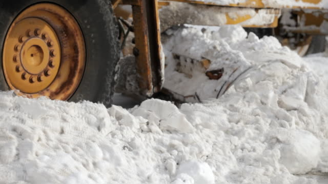 snowplow pushes snow on boulevard - snowplough stock videos & royalty-free footage