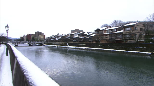 snowscape around asano river, kanazawa, japan - ishikawa prefecture stock videos and b-roll footage