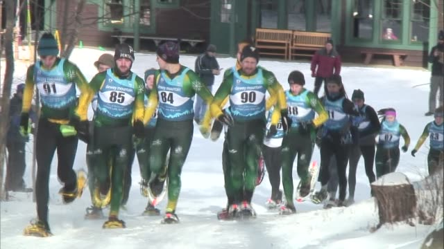 snowshoe racing in saranac lake ny start and two on course shots - salmini stock videos and b-roll footage