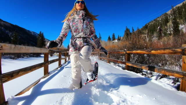 snowshoe, woman with snowshoes, snowshoeing