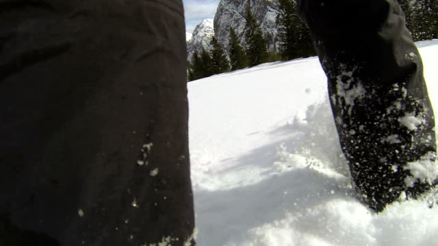 POV Snowshoeing in High Mountain Landscape