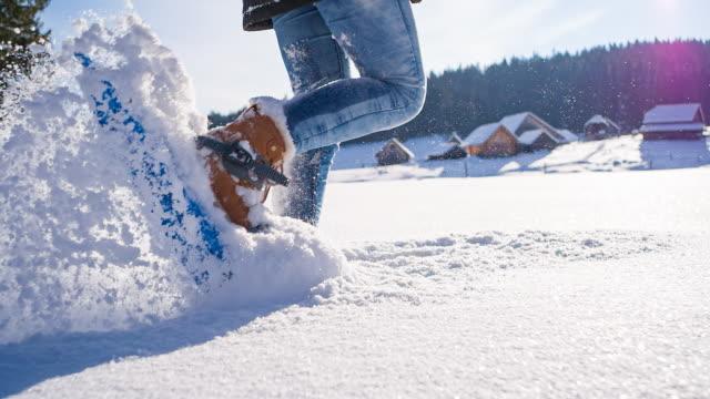 魔法の冬の自然を通してスノーシュー - スーパースローモーション点の映像素材/bロール