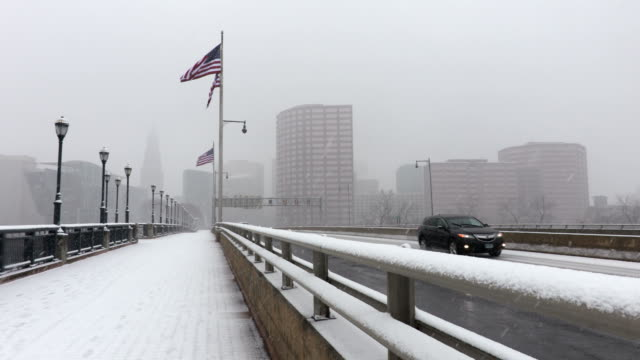 snowstorm in hartford connecticut - elevated walkway stock videos & royalty-free footage
