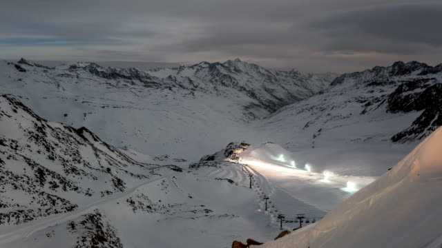 snowy alps at night time lapse - snowplough stock videos & royalty-free footage