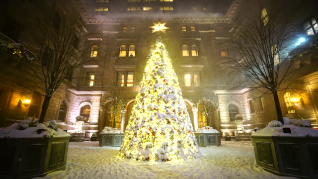 Snowy Christmas tree at New York Palace Hotel at night Midtown Manhattan. Snow surrounds the Christmas tree and courtyard.