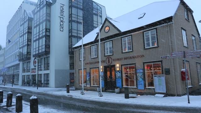 Snowy city centre street view, Reykjavik city, Iceland,