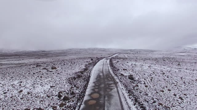 AERIAL Snowy countryside in Iceland
