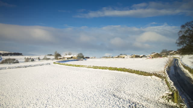 Snowy Countryside in Yorkshire, England - T/L