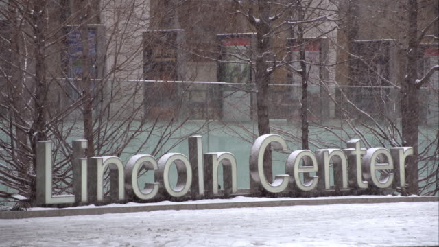 snowy day in front of the lincoln center - upper west side manhattan stock videos and b-roll footage