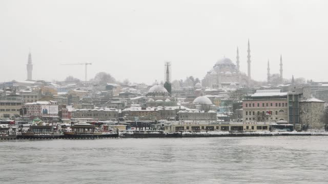 snowy day in istanbul, turkey - suleymaniye mosque stock videos and b-roll footage