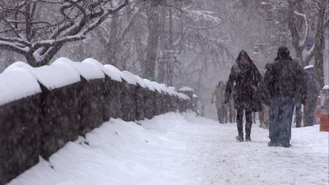 snowy day in manhattan - warm clothing stock videos & royalty-free footage