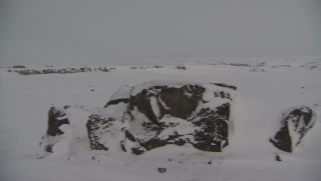 snowy flat landscape w/ some exposed black lava rocks, boulder side fg, reverse snow covered land, whiteout conditions in distance. - boulder rock点の映像素材/bロール